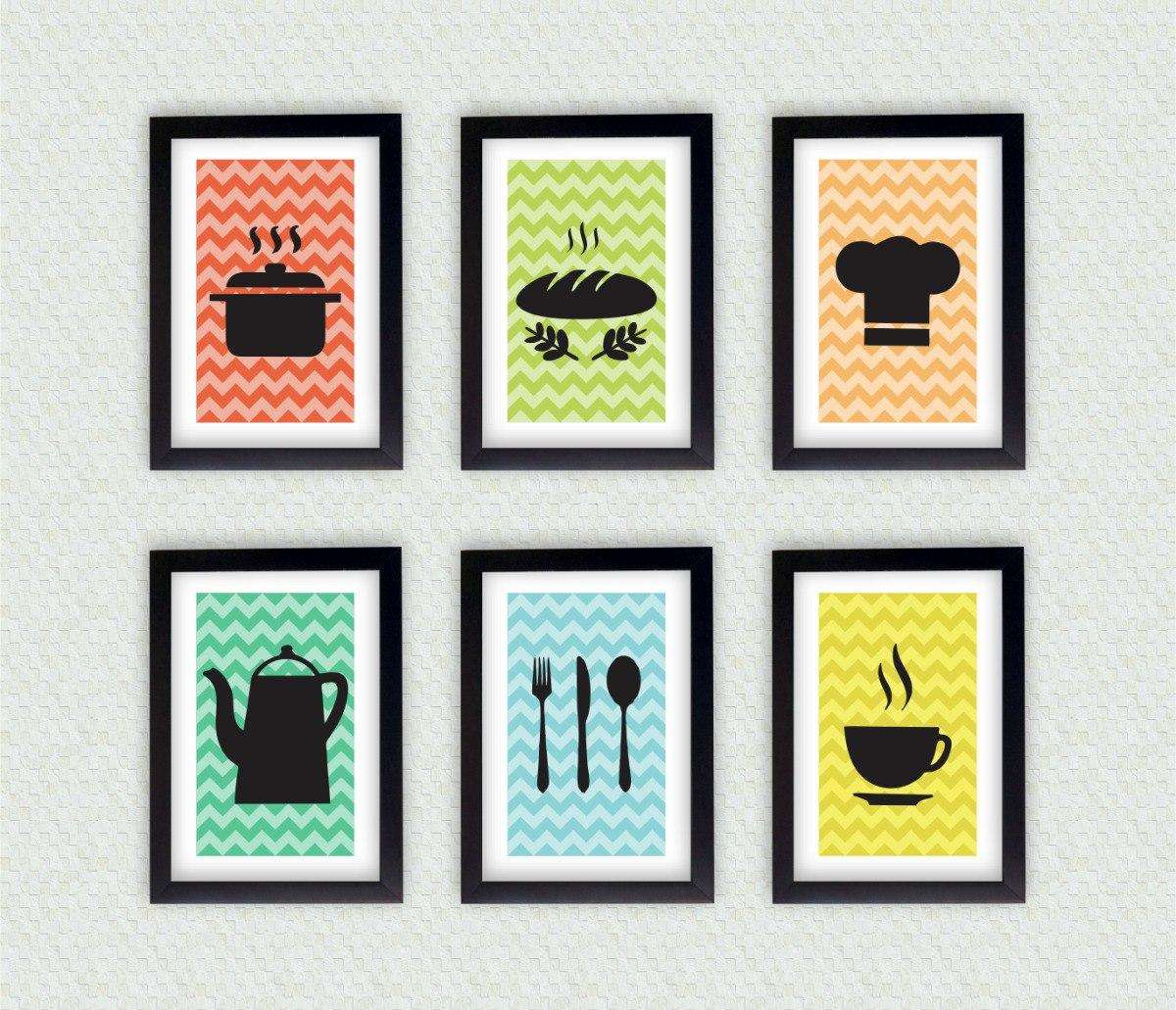 a7684aeba kit 6 quadros decorativos para parede cozinha com moldura. Carregando zoom.