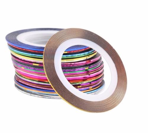 kit 6 rolo fita adesiva unhas película metalizadas fio ouro