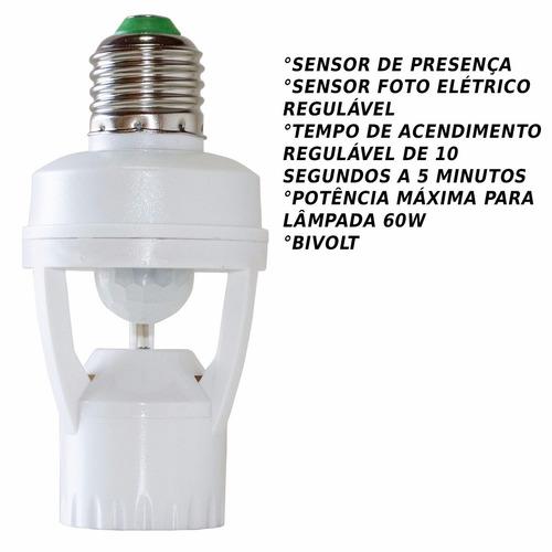 kit 6 soquete sensor de presença foto célula e27 st551