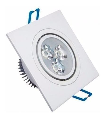 kit 6 spot super led quadrado embutir dicroica sanca 3w