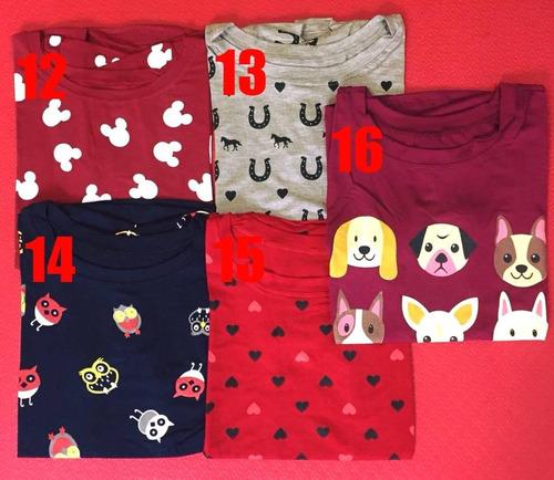 kit 6 t-shirts blusa feminina roupas atacado revenda oferta