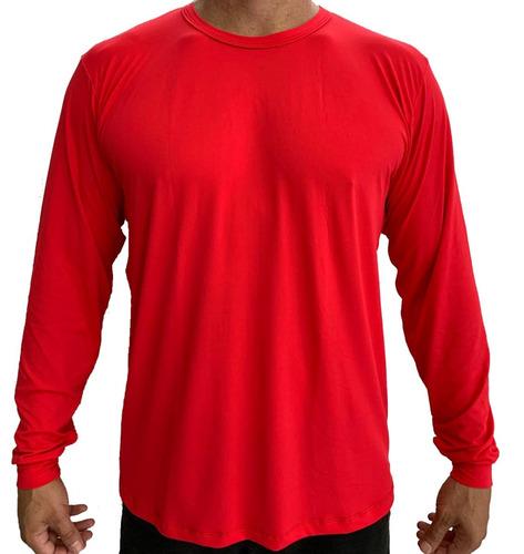 kit 6 unidades, camiseta dryfit 100% poliamida - manga longa