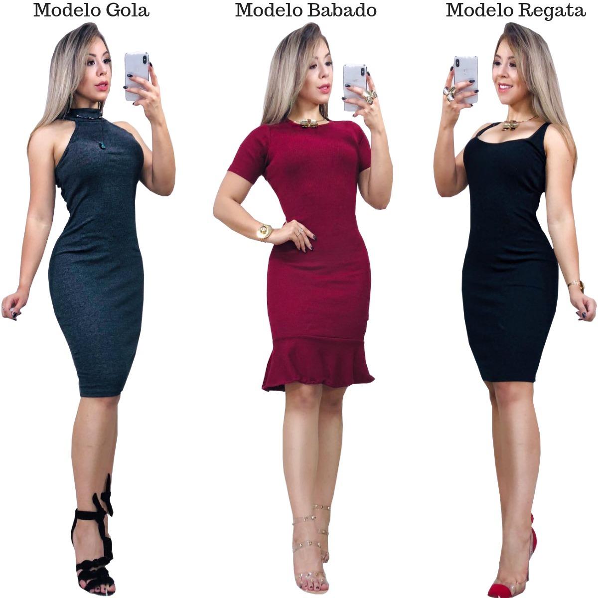 ca61bb6fc573 kit 6 vestido midi tubinho festa casual oferta atacado 2018. Carregando zoom .
