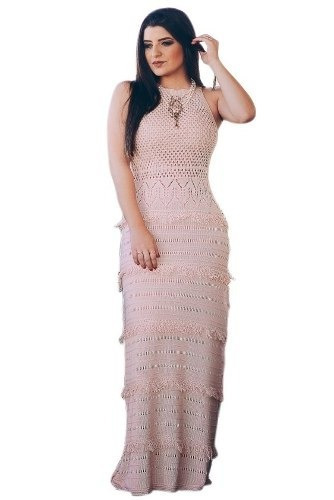 kit 6 vestidos longo feminino tricot franjas pronta entrega