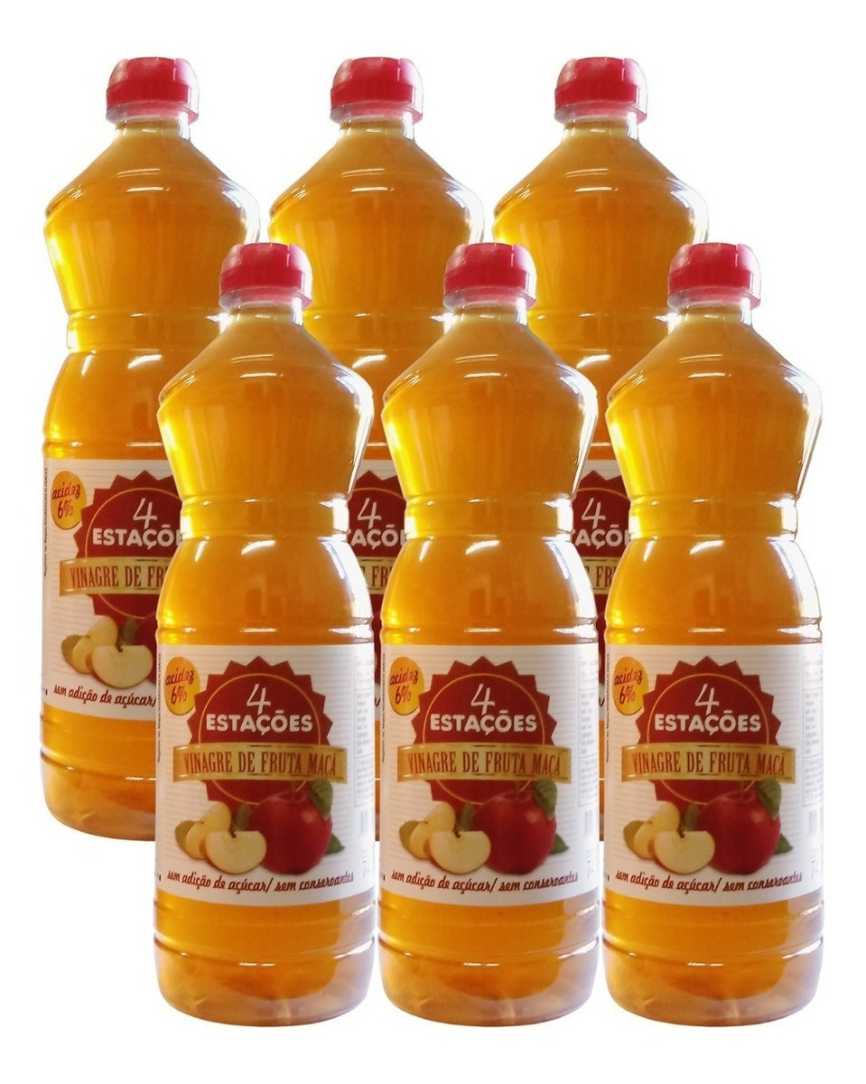 Vinagre De Maçã 6% 740ml Zero Açúcar 100% Natural Kit 6 Unidades
