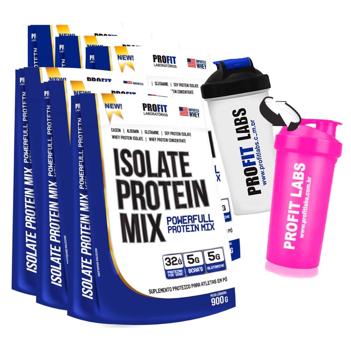 9d6ff4bbf kit 6 whey protein isolado mix refil 900g + brinde - profit. Carregando zoom .