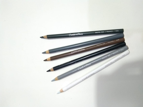 kit 6 x lápis pastel seco conté à paris tons de cinza