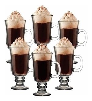 kit 6 xicaras taças 240 ml alta doce caneca cappuccino vidro