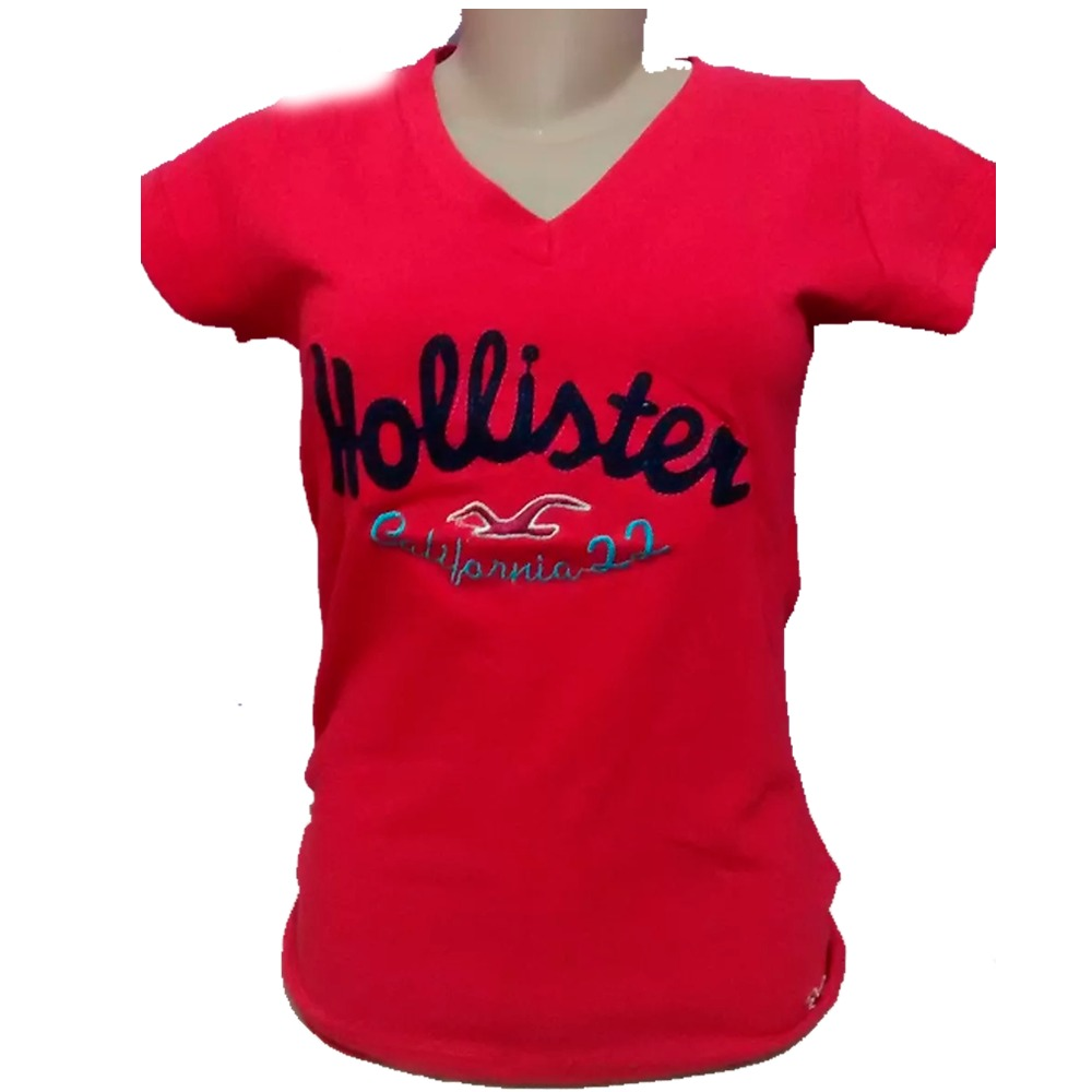 b0370ba4be Kit 60 Camisas Camiseta Gola V Feminina Hollister Feminina - R  930 ...