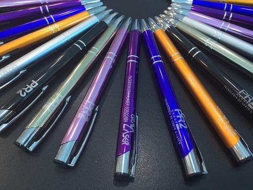 kit 60 canetas metal personalizada brinde gravação a laser