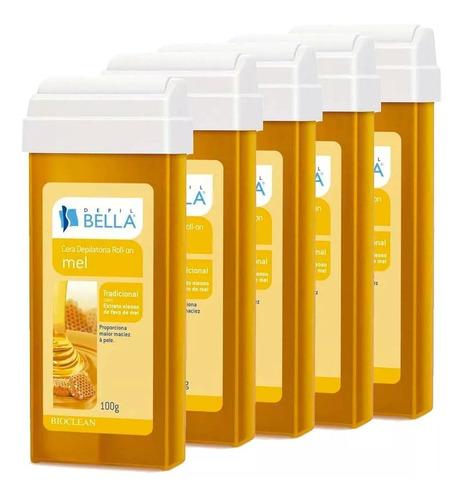 kit 60 refil cera roll-on 100g depilação - depil bella
