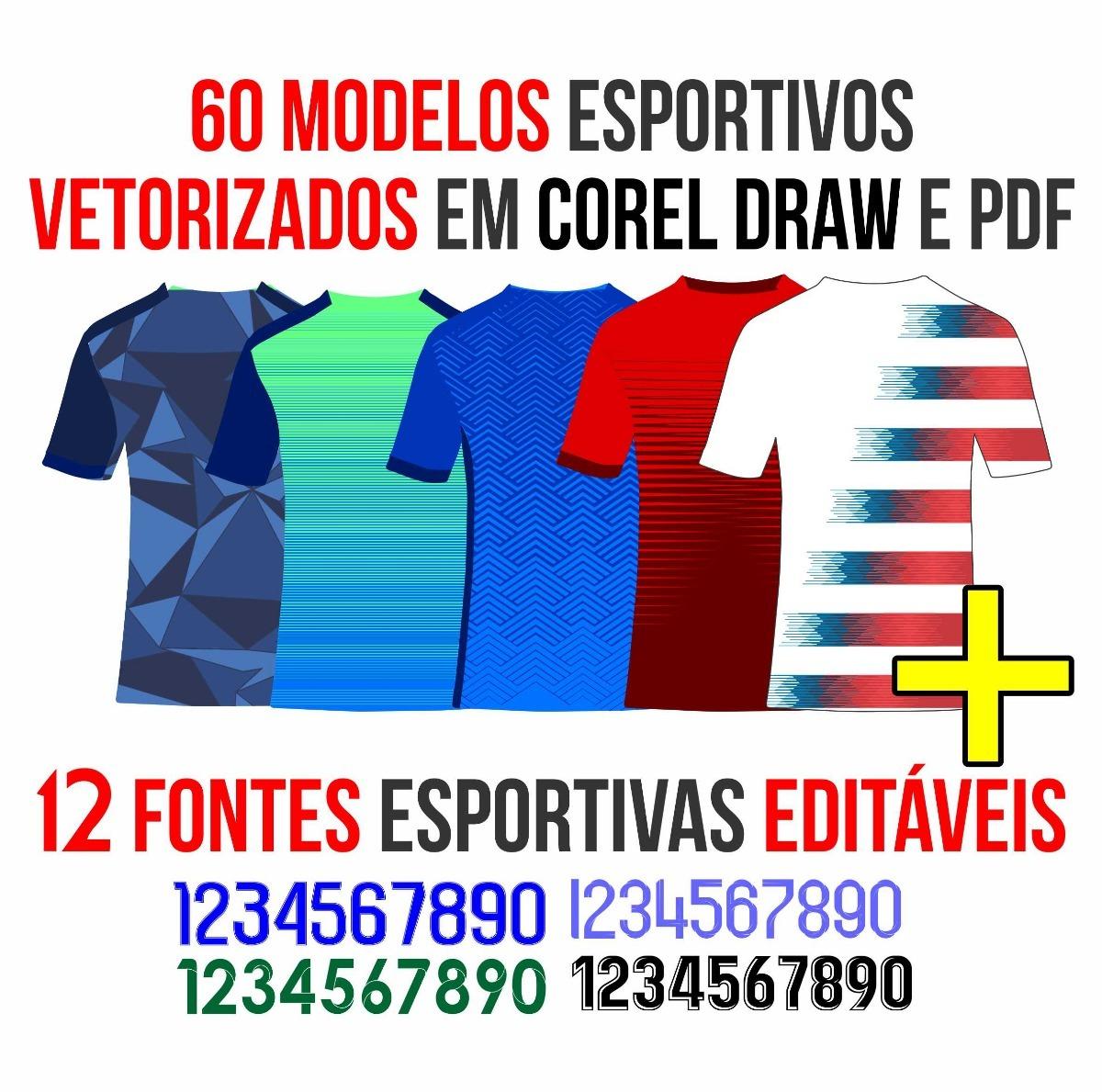 c3ef4f3c33 Kit 60 Vetores Esportivos P  Sublimação 2019 + 12 Fontes - R  25