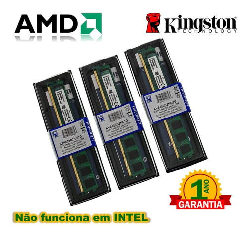 kit 6gb 3x memória kingston ddr2 2gb 800mhz nova lacrada amd