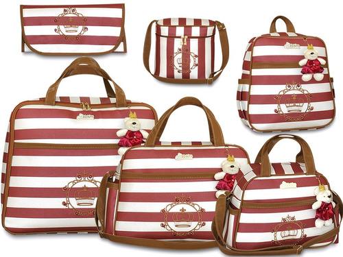 kit 6pçs bolsas maternidade + mala da mãe, enxoval completo!