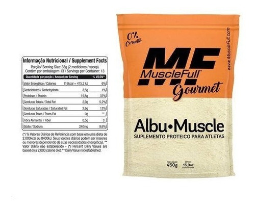 kit 6x albu muscle - albumina pura 450g cada - muscle full