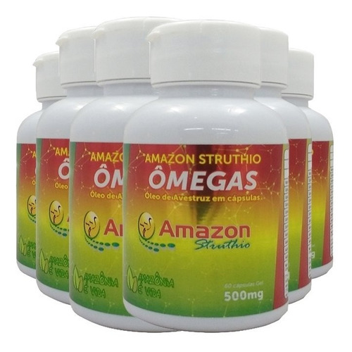 kit 6x óleo de avestruz 60 cápsulas - amazon struthio