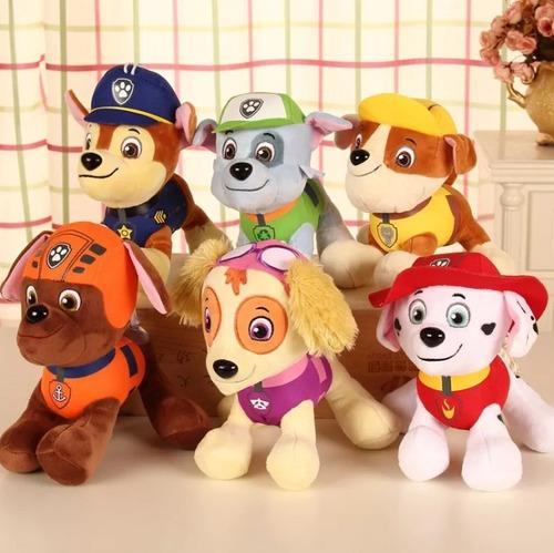 kit 7 bonecos pelúcia patrulha canina musical antialergico