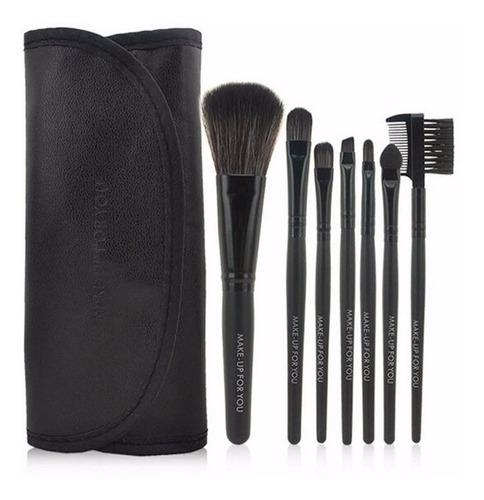 kit 7 brochas maquillaje profesional cejas pomulos + estuche