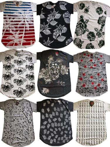 kit 7 camisa long line varias estampas lancamentos 2019