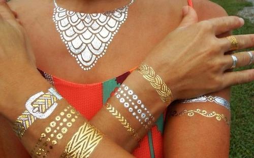 kit 7 cartela flash tatto gold tatuagem temporária metalica
