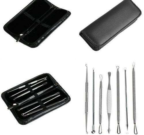 kit 7 curetas remove cravos espinhas acne aço inox estojo