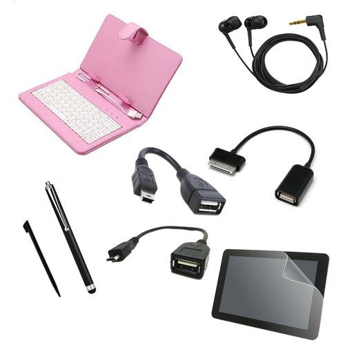 kit 7 en 1 teclado estuche y mas / tablet 8 pulgadas  rosa