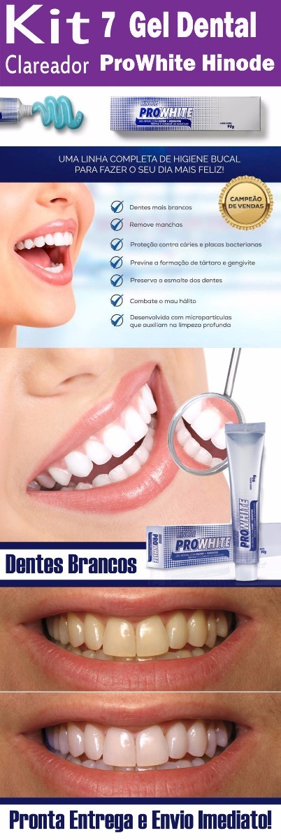 Kit 7 Gel Dental Pasta De Dente Clareador Hinode Pro White R 80