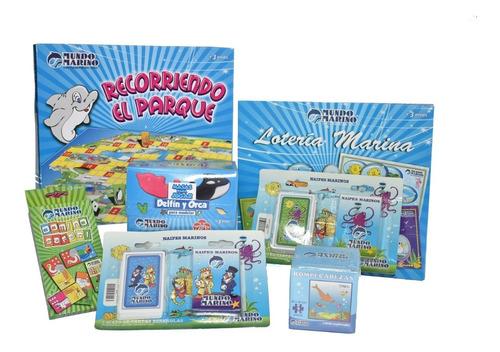 kit *7 jugueteria domino, naipes, masa, lotería mundo marino