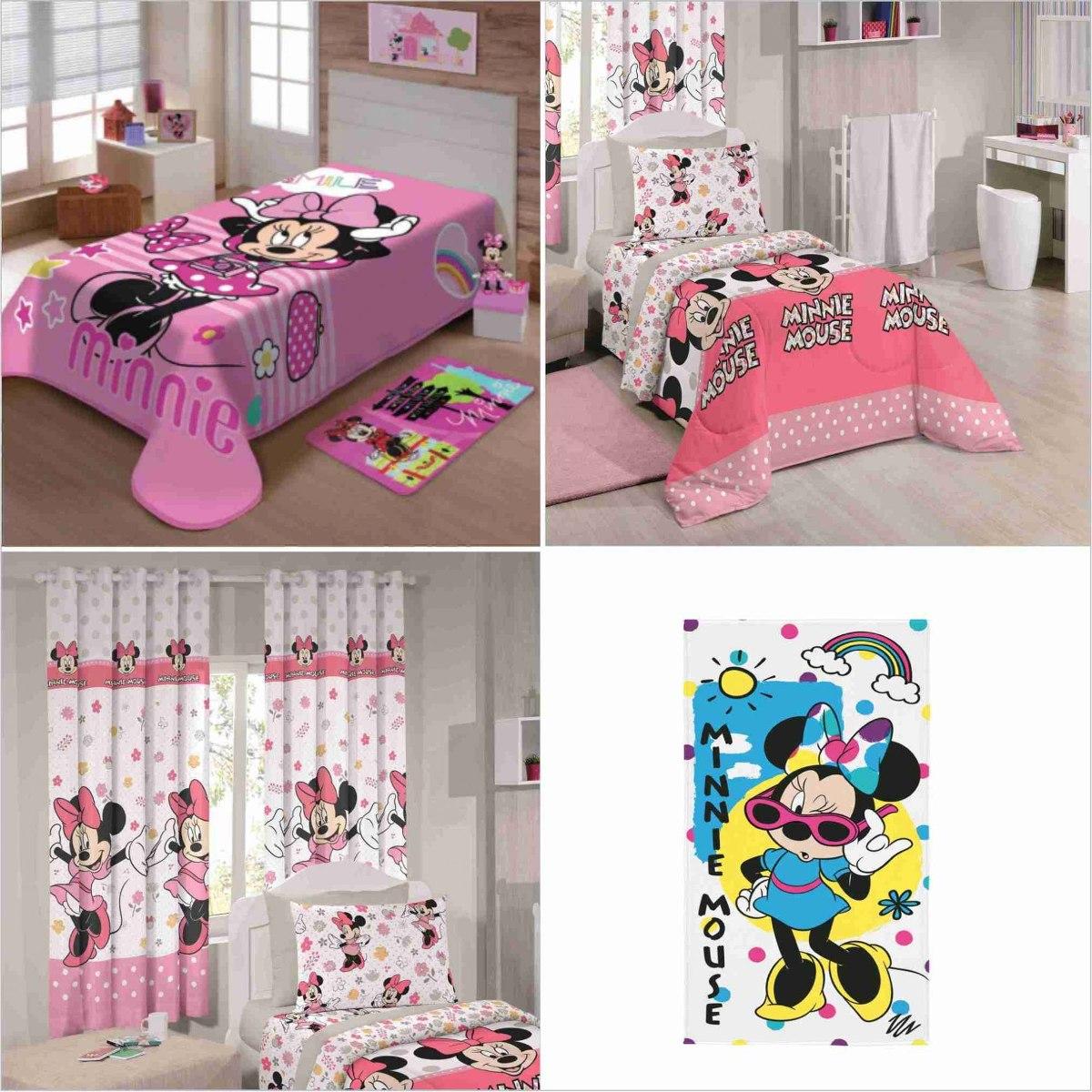 69138003b5 kit 7 pçs cobertor+jogo cama+ cortina+toalha minnie infantil. Carregando  zoom.