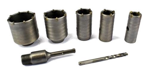 kit 7 pçs serra copo concreto/parede 30 á 50mm c/haste 110mm