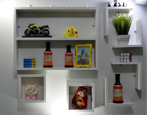 kit 7 peças nichos prateleira l cubo decoração sala quarto