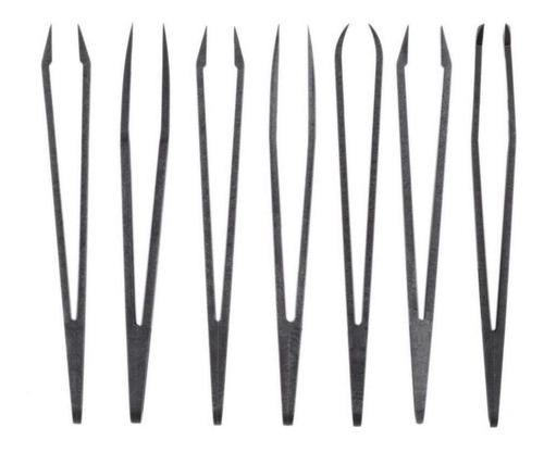 kit 7 pinzas bruselas fibra carbono antiestáticas seguridad