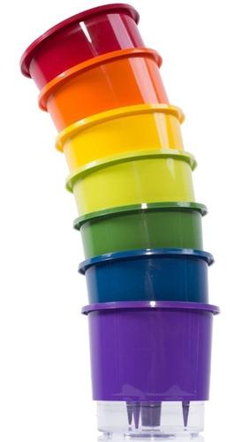 kit 7 vaso raiz auto irrigável rainbow 16x14cm autoirrigável n3 anti dengue horta vertical temperos ervas flores c/ nota