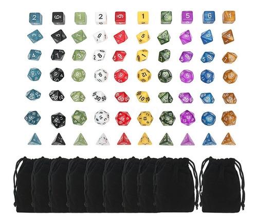 kit 70 dados rpg dungeons | 10 conjuntos c/ 7 dados + bolsas