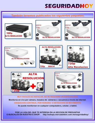 kit 720p disco 1mp hdcvi videovigilancia 4 camaras seguridad