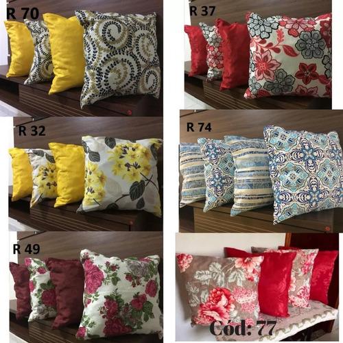 kit 8 almofadas decorativas cheias estampadas e lisa sofá