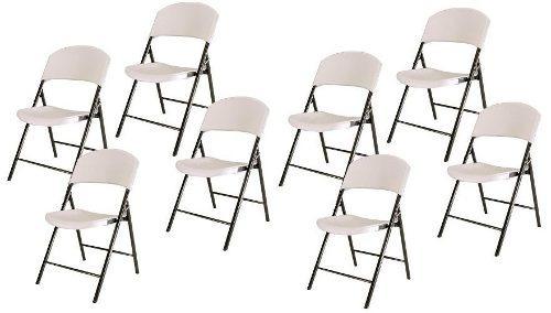 kit 8 cadeiras em metal dobrável branca assento de plástico