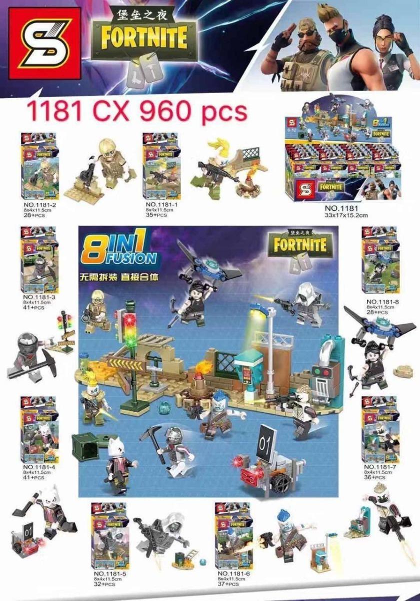 Kit 8 Caixas Blocos Montar Lego Fortnite Garena Free Fire