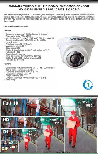 kit 8 camaras 1080p hikvision + dvr 8ch sop. 2ip y ptz
