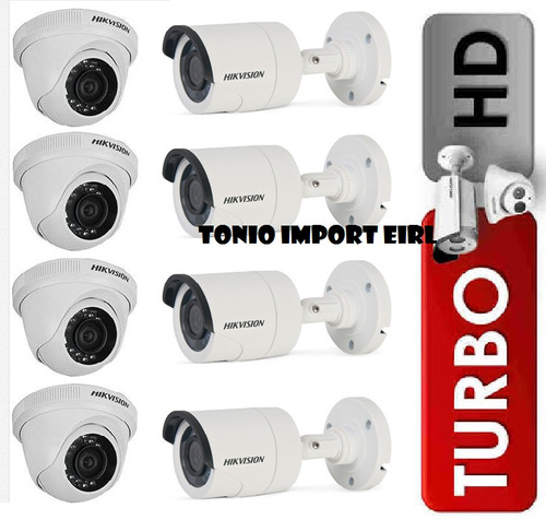 kit 8 camaras de seguridad hikvision turbo hd 720p p2p 2017