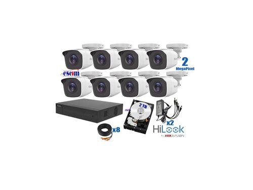 kit 8 camaras hikvision 1080p 2 mpx cctv 2 tb dvr 8 canales
