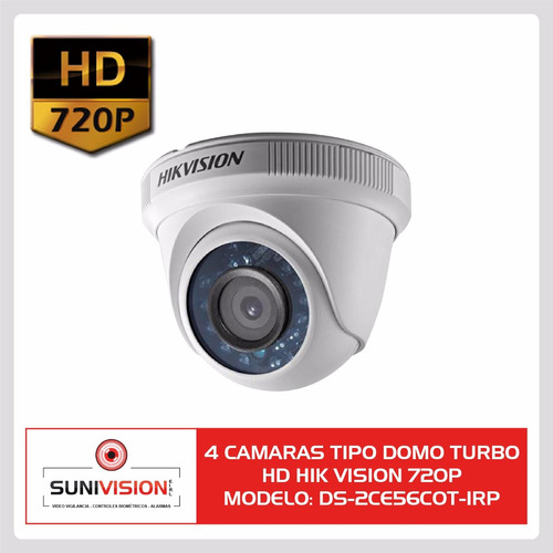 kit 8 camaras hikvision hd 720p infrarrojo 20m