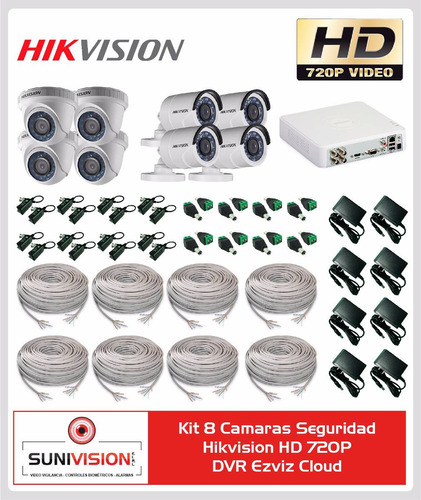 kit 8 camaras seguridad hik vision hd 720p dvr ezviz cloud