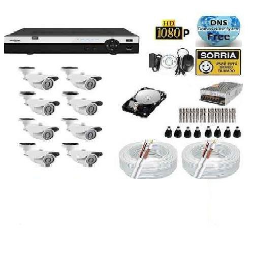 kit 8 cameras hdcvi 720p infra dvr 8 canais intelbras mhdx