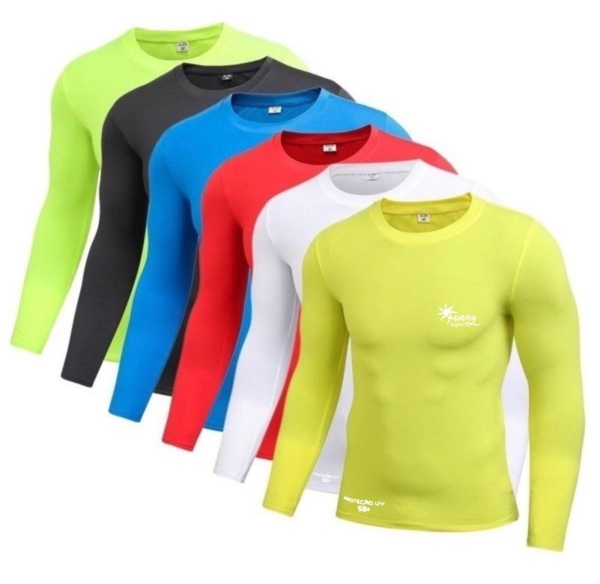 c414b814fa kit 8 camisa proteção solar uv slim fitness blusa unissex. Carregando zoom.