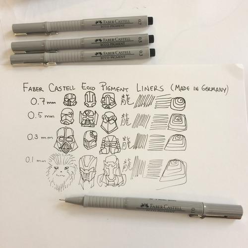 kit 8 canetas nankin faber castell ecco pigment 0,1 ao 0.8