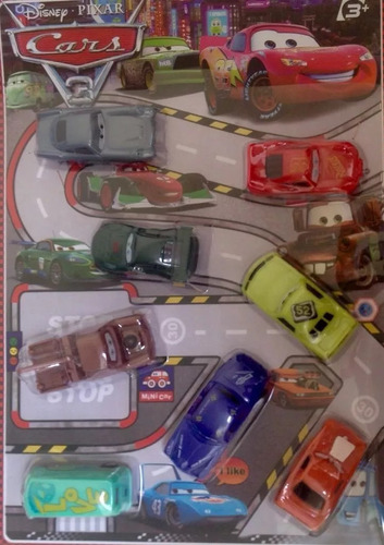 kit 8 carrinhos carros 3 relampago mcqueen car fricção