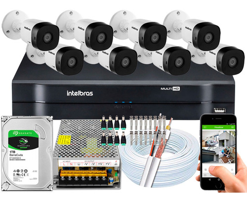 kit 8 câmeras multi hd 720p 1mp dvr intelbras mhdx 1108 1tb