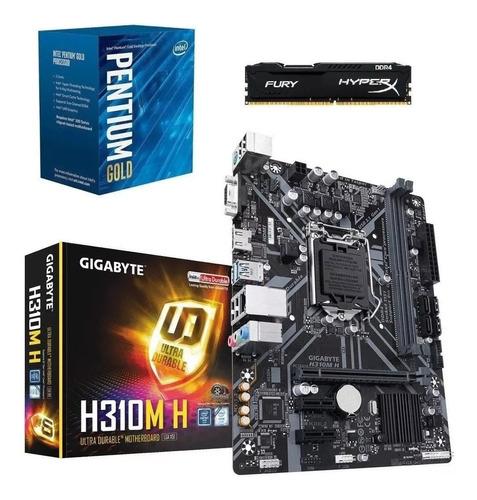 kit 8ª geração/ pentium gold g5400 + h310m a + 8gb fury nfe