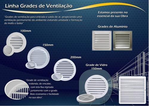 kit 8 grades de ventilação quadrada de alumínio itc 20x20 cm